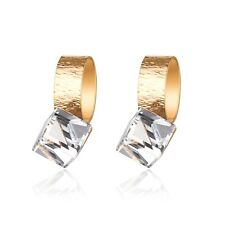 18k yellow gold gp made with clear SWAROVSKI crystal stud cube earrings