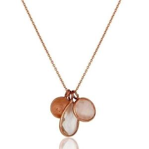 Crystal Quartz Moonstone Rose Gold Plated 925 Sterling Silver Pendant Jewelry
