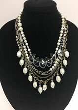 NEW 3 SILPADA BRASS+PEARL BEADS,SILVER TONE MULTI CHAIN CRYSTALS NECKLACES