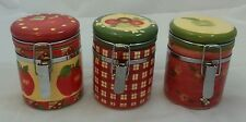 """Susan Wignet Hinged Canister Sealable Jars Apple Honey Bee Plaid  Rare 4"""" Tall"""