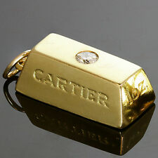 CARTIER Diamond 18k Yellow Gold 1 Ounce Solid Ignot Bar Pendant Charm