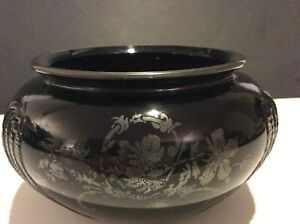 "Antique Art Deco Black Amethyst Floral Silver Overlay Bowl 3.75"" H 6"" W"