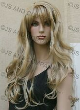 LONG Wavy Layered Solid Golden Blonde Mono skin top WIG w. bangs HSJO 24