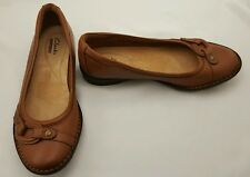Clarks Collection Women's Slip On Shoes Brown Leather Dress Shoes Size 6M