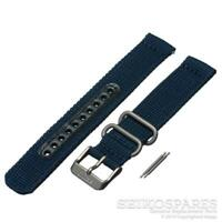 Seiko Watch Strap f/ 5 SNK807 SNK815 7S26-02J0 18mm Dark Blue Nylon Fabric Band