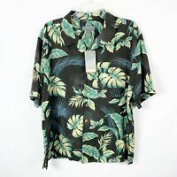 Saddlebred NWT Large Silk Hawaiian Beach Shirt Button Front Palms