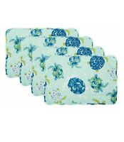 Sea Turtle Placemats Set of 4 Teal Reversible Quilted Coastal Beach Home