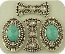 2 Hole Beads Faux Turquoise Ovals & Spacers Medieval Renaissance ~ Sliders QTY 4