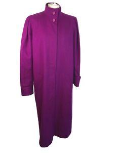 Pure Wool Jewel Tone Magenta Long Coat Alexon 12 14 Statement Arty Duchess