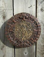 Fair Trade Hand Carved Made Ceramic Aztec Calendar Wall Art Hanging Plaque