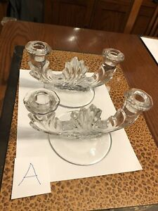 Pair Of Vintage Clear Glass Double Arm Candle Holder