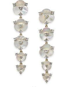 $128 Kate Spade DISCO PANSY 12K Gold Plate MOP DROP  Earrings #680
