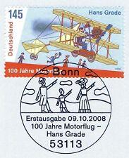 BRD 2008: Flugpionier Hans Grade Nr. 2698 mit Bonner Ersttagsstempel! 1A! 1811