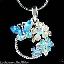 Blue w Swarovski Crystal BUTTERFLY Family Flower Blossom Wreath Pendant Necklace