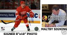 """KIRK MALTBY Detroit Red Wings SIGNED 8""""x10"""" Photo PROOF"""