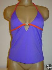 Victoria's Secret purple halter tankini top swimsuit red orange trim pad cups-S