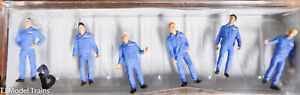 Preiser HO #10373B People Working -- Mechanics In Coveralls, Blue (Painted)