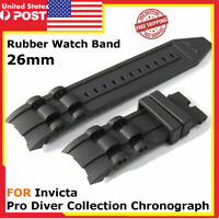 Black Soft Silicone Rubber Watch Band Strap For Invicta RESERVE SUBAQUA SCUBA US