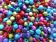 100 x Jingle Bells Multi-coloured Small 8mm Christmas Crafts Jewellery Charms UK