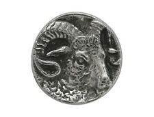 6 Small Ram's Head 5/8 inch (15 mm)  Pewter Metal Buttons Antique Silver Color
