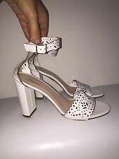 NEW JCREW LEATHER EYELET HIGH-HEEL SANDALS 6.5 SHOES f1317 $268 WHITE  NEW