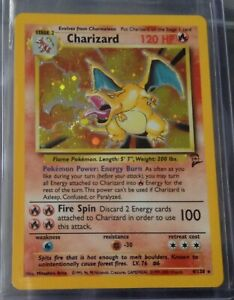 Pokemon Card Holo Charizard 4/130 Base Set 2 with Swirl Near Mint to Mint