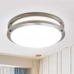 MingBright 12inch LED Flush Mount Ceiling Light Fixture Dimmable Brushed Nickel