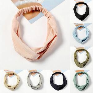 Women Satin Silk Elastic Wide Headband Stretch Twist Knot Hairband Turban Wrap