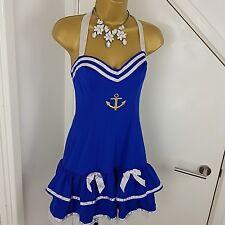 Ann Summers Sailor Outfit Dress Halter Stretch Blue Size UK 12 /EU38
