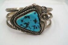 NICE NAVAJO STERLING SILVER TURQUOISE MENS CUFF BRACELET.