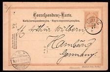 868 AUSTRIA EMPIRE TO GERMANY PS POSTAL CARD 1897 MIELEC (POLAND) - HAMBURG