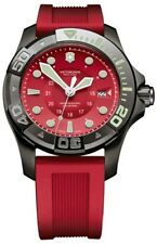 NEW VICTORINOX DIVE MASTER 500 SWISS ARMY,RED SILICONE BAND WATCH 249056