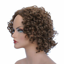 Classic Cap women Synthetic Curly Wavy Short Dark Gold Brown wig HengFeng MHL09