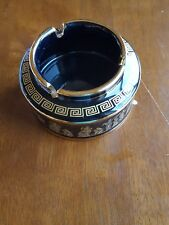 Greece Ceramic Black and 24 carat gold glaze Hand Painted Deep bodied Ashtray.