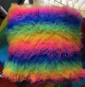 ✨Handmade UV Vegan Plush Fluffy Soft FAUX Fur Cushion Case WITH PILLOW ✨