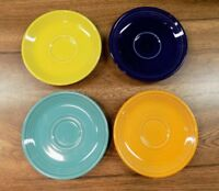 Fiesta Homer Laughlin China Co Set of 4 Vintage Saucers Assorted Colors USA