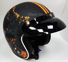 Viper Calce Ajustado Bajo Perfil Abierto Cara Casco De Motocicleta Naranja RS05 Gafas Gratis