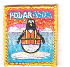 """POLAR SWIM"" PATCH- SWIMMING - SPORTS - WINTER - IRON ON EMBROIDERED APPLIQUE"