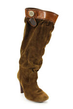 Michael Kors Womens Suede Gold Button Knee High Boots Brown Size 7.5 Medium