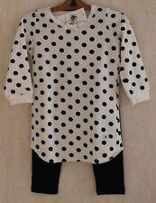 0c8d3dbb6a33c Neuf   Pyjama chemise de nuit PETIT BATEAU 4 ans blanc gros pois velours  fille