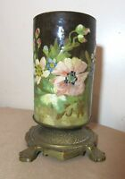 antique 1800's Art Deco hand made painted pottery brass oil lamp font holder