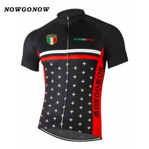 Italy Man Cycling Jersey Clothing Bike Wear Racing Black Tops Pro