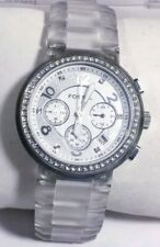 Women Fossil Blue Watch Ch2485 Crystal Acc Clear Band White Silver Face Chrono
