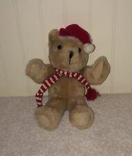 "Vintage Santa Teddy Bear Plush Russ Berrie 7"" Red Hat White Striped Scarf 292"