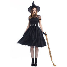Black Witch Halloween Costumes for Women Fancy Wicked Lace Sexy Dresses With Hat