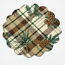 Lookout Lodge Pine Cones Brown Plaid Quilted Cotton Round Single Placemat