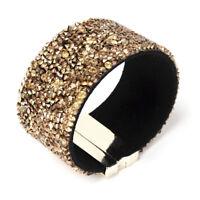 Amrita Singh Gold Tone Mia Gold Crystal Cuff Magnetic Wrap Bracelet BRC 173 NWT