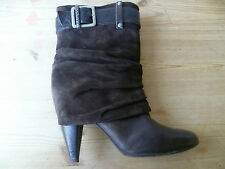 MISS SIXTY UK6 SIZE 39 LADIES BROWN LEATHER SUEDE MID CALF BOOTS GOOD CONDITION