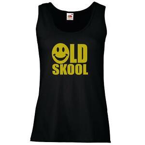 Ladies Black Old Skool Smiley Face Vest Retro Raver 90s 1990s