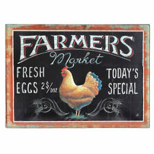 Creative Embossed Tin Farmers Market Wall Decor with Rooster Image